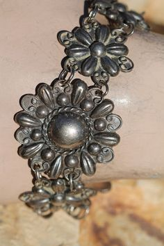 Vintage Mexican Sterling Silver Repousse ORB and Flower Link Bracelet 1930'S | eBay
