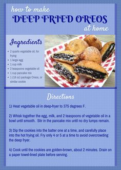to make deep fried Oreos at homeHow to make deep fried Oreos at home Deep Fried Desserts, Deep Fried Oreos, Deep Fried Foods, Yummy Snacks, Delicious Desserts, Yummy Food, Quick Snacks, Tasty, Fried Oreos Recipe
