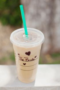 Starbucks even on your wedding day!  Style Me Pretty | Gallery