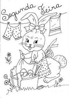 desenho de coelhinha lavando roupa para pintar