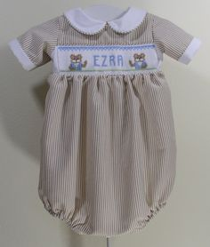 "Cross Eyed Cricket Smocking Designs ""Alphabet Bears"" plate #363 This plate will allow you to customize your baby's outfits.  Change the colors and it works well for you're little girls too."