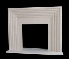 Art Deco style fireplace mantel limestone modern contemporary design shopstonefireplaces.com