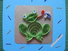 Quilled Frog Birthday Card   Felicitare cu broscuta din hartie rulata   Elaine's…