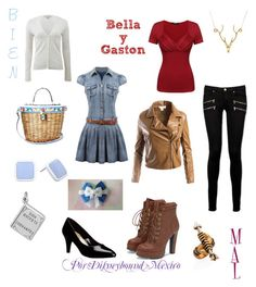 """Bella y Gaston (Good vs Evil)"" by disneybound-mexico on Polyvore featuring Michael Kors, Dolce&Gabbana, BillyTheTree, Liz Claiborne, Paige Denim, JustFab, Sans Souci, Lee Renee and Gucci"