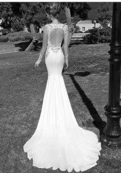 Open back bridal slim fit sexy wedding dress by ghalia lahav