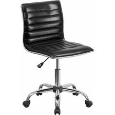 Flash Furniture Low-Back Armless Ribbed Designer Swivel Task Chair, Multiple Colors