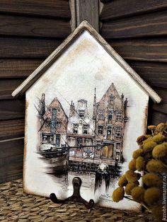 Купить Ключница Старый город - комбинированный, ключница ручной работы, ключница, прихожая, для ключей, вешалка