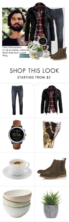 """You Didn't Mean Me"" by grimalkim ❤ liked on Polyvore featuring Armani Jeans, FOSSIL, Mr. Coffee, Dune, Lux-Art Silks, men's fashion and menswear"
