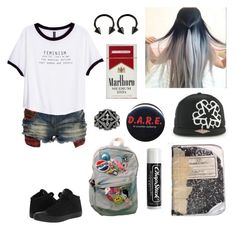 """""""Am I violating dress code yet?"""" by xxkrysxx ❤ liked on Polyvore featuring Crafted, H&M, Ultimate, Converse, Plane, Carolina Glamour Collection, Chapstick, rebel, alternative and oakstreetmisfits"""