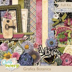Grafica Botanica Digital Scrapbook Kit by quirkytwerp on Etsy
