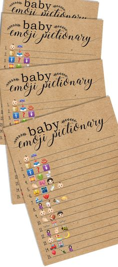 Baby emoji pictionary. Baby shower emoji pictionary. Baby shower games.