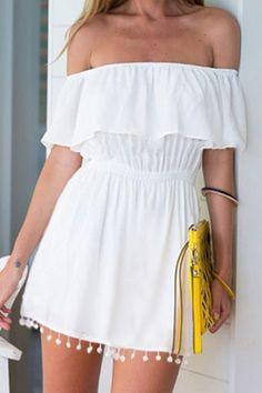 Slash Neck White Elastic-Waisted Dress
