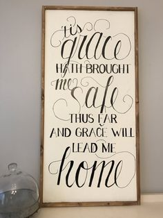 Beautiful hand painted sign!  Amazing Grace Sign  Approximately 25x50 inches   No two signs will be the same. Im happy to try anything you ask! From your favorite quote or saying to your favorite verse it would be such a pleasure make one fore you, the price point on your custom sign maybe more or less so we will create a specialized listing for you. Beautiful hand-painted sign made from reclaimed barn wood, comes ready to hang with hardware attached. This sign is made-to-order and will look…