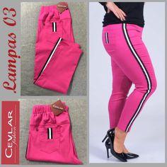 Spodnie z lampasem Cevlar BL03 kolor fuksja rozmiar 38 – 40 – 42 - Big Sister Leather Pants, Sweatpants, Fit, Fashion, Moda, La Mode, Lederhosen, Sweat Pants, Fasion