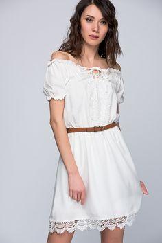 O&O-6Y161007 Eteği Dantel Elbise-Ekru Olgun Orkun | Trendyol