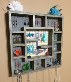 Jewelry Organizer Wood Wall Hanging Display by DivaDisplay on Etsy