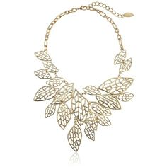 Jardin Gold-Plated Leaf Links Bib Necklace ($48) ❤ liked on Polyvore featuring jewelry, necklaces, pearl-cluster necklaces, cluster pendant, statement bib necklace, chain pendants and bib necklaces