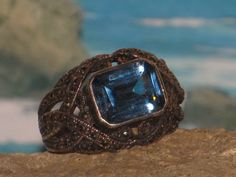 Sterling silver topaz marcasite ladies / womens cocktail ring. $54.00, via Etsy.