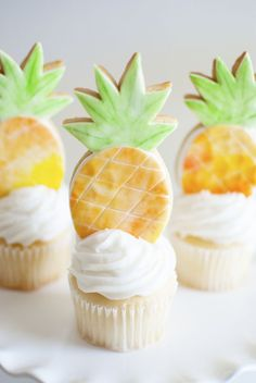 Pineapple Cookies as Cupcake Toppers