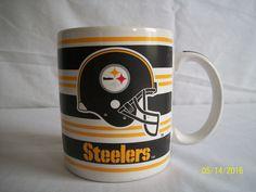 Papel Pittsburgh Steelers Ceramic Coffee Mug 10 Ounce Oz 1980 White Black Gold