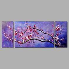 【今だけ☆送料無料】 アートパネル  自然・風景画3枚で1セット 白 ピンク 桃色 梅 ツリー【納期】お取り寄せ2~3週間前後で発送予定