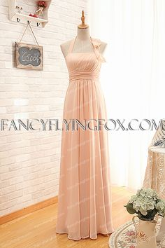 fancyflyingfox.com Offers High Quality Noble Halter Neckline Pink Bridesmaid Dress With Ribbons ,Priced At Only US$168.00 (Free Shipping)