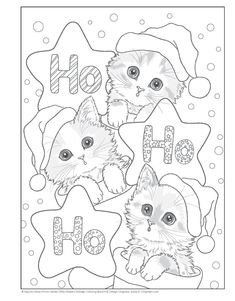 Santa's Kitty Helpers Holiday Coloring Book (Design Originals): Kayomi Harai: Cat Coloring Page, Coloring Pages To Print, Coloring Book Pages, Coloring Pages For Kids, Kids Coloring, Christmas Kitten, Christmas Drawing, Christmas Coloring Sheets, Printable Adult Coloring Pages