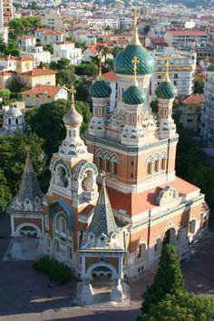 cathédrale orthodoxe russe Saint Nicolas - Nice. Provence-Alpes-Côte d'Azur.