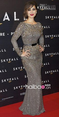 Berenice Marlohe Red Carpet Elie Saab Sequined Sash Celebrity Dresses Evening With Long Sleeves, $309.0 | DHgate