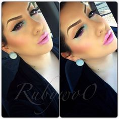 Love her eyebrows. Not feelin the blue it looks messy in the corners.