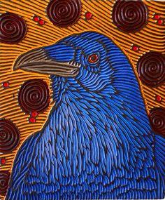 @girlvaughn (since you seem to like ravens); woodcut by lisa brawn