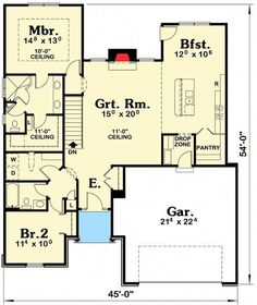 Needs to be ADA Acessible --- Compact Two Bedroom Southern House Plan - floor plan - Main Level Southern House Plans, Southern Homes, Southern Living, Small House Plans, House Floor Plans, Two Bedroom, Home Decor Bedroom, 1950s Bedroom, Girls Bedroom