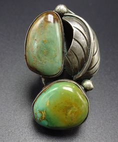 Gorgeous Vintage NAVAJO Sterling Silver & Green TURQUOISE RING, size 6.25