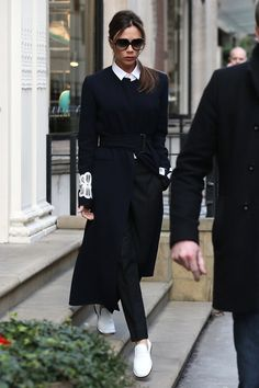 Victoria Beckham wore a coat from her own pre autumn/winter 2016 collection. London, February 23 2016
