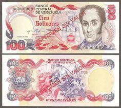BANCO CENTRAL DE VENEZUELA - 100 BOLIVARES - 1980    ESPECIMEN SIN VALOR - SERIAL 00