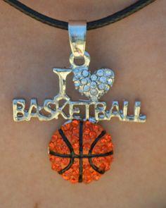 Basketball Jewelry Basketball Necklace I Heart by SportyChicas Volleyball Jewelry, Basketball Jewelry, Basketball Accessories, Basketball Necklace, Custom Basketball, Basketball Design, Basketball Tricks, Basketball Gifts, Basketball Coach