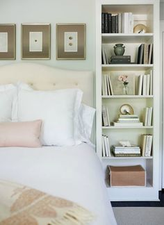 Built-in bookcase next to bed.