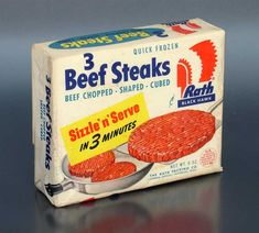 Mmmm, yummy! Processed, uncooked meat you can't even see before you buy. Growing up, my parents would have had nothing to do with the Quick Frozen 3 Beef Steaks by Rath Black Hawk shown here. Most convenience foods were looked at askance anyway, and this 'trust me' package would have impressed them not one bit. From 'More Kitchen Collectibles' at the web's largest private collection of antiques & collectibles: http://www.ericwrobbel.com/collections/kitchen-2.htm