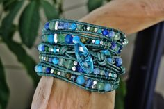 GEMSTONE WAVES  5 Wrap Ocean Green Leather by BraceletsofBlueRidge, $125.00