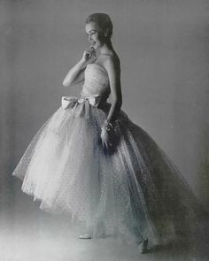 Model wearing a gown by Christian Dior, Spring 1956. #50s #weddingdress