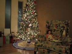 Christmas tree on the new hardwood.
