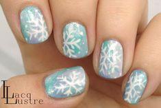 Water Color Snow Flake Nail Art
