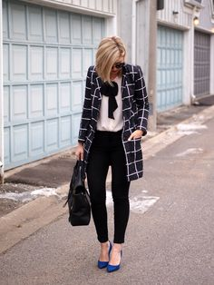 Grid Checker Print Coat, Bow Blouse, Cobalt Pumps / Suburban Faux Pas