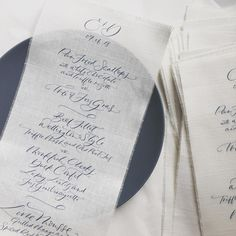 Linen menus with modern calligraphy