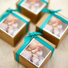 Party Favors - simple idea using photo and ribbon on plain kraft boxes. This idea would work for wedding, birthday, shower, anniversary, corporate . Baby Boy Baptism, Baptism Party, Baby Boy Shower, Kraft Packaging, Packaging Ideas, Welcome Baby Party, Wedding Favor Boxes, Anniversary Parties, Shower Party
