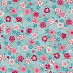 Shiki Small Floral Multi on Aqua Fabric Shop, Dream Catcher, Aqua, Quilts, Shower, Blanket, Sewing, Floral, Rain Shower Heads