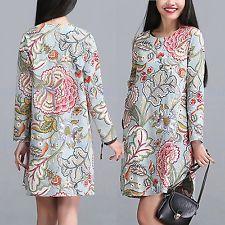 NEW Ladies Vintage Casual Long Sleeve Crew Neck BOHO Cotton Linen Shirt Dress