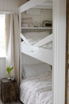 love this Hatley floral bedlinen in Rose pink by Cabbages & Roses and this pretty country bedroom with bunk beds and rustic style.Click through for more designs you'll love to create a modern country interior with fresh, pretty florals Next Bedroom, Bedroom Setup, Girls Bedroom, Shabby Bedroom, Cozy Bedroom, Bunk Rooms, Bunk Beds, Cozy Cottage, Cottage Style
