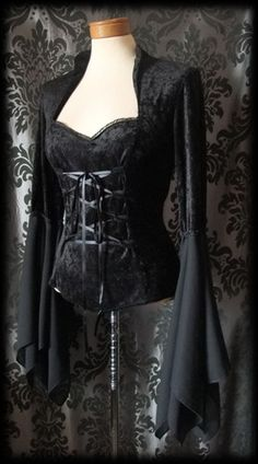 Not in black, but I like this... Goth-Black-Crushed-Velvet-Lace-Up-VAMPYRE-Huge-Sleeve-Corset-Top-8-10-Victorian