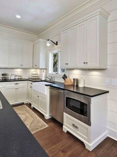 Supreme Kitchen Remodeling Choosing Your New Kitchen Countertops Ideas. Mind Blowing Kitchen Remodeling Choosing Your New Kitchen Countertops Ideas. White Kitchen Cabinets, Kitchen Redo, New Kitchen, Kitchen Remodel, Kitchen Dining, Ship Lap Kitchen, Shiplap In Kitchen, Kitchen Ideas, Kitchen Walls